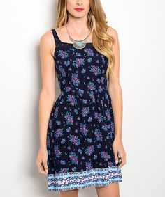Look what I found on #zulily! Navy & Purple Floral A-Line Dress #zulilyfinds