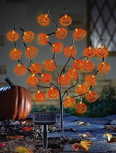 "Halloween Jack-O-Lantern Tree Solar Lighted Yard Stake 30""H ~NEW~"