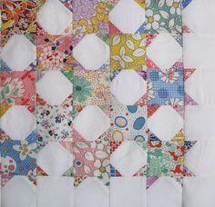 Two blocks: one print square, one snowball square. Makes a great lattice design.