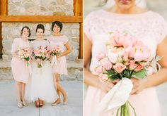 Pink and peach peony bouquet  and blush bridesmaids' dresses | photo Ciara Richardson | 100 Layer Cake