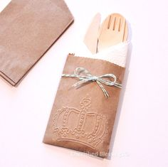 Wooden Cutlery Silverware Bags Table Setting by CherishedBlessings