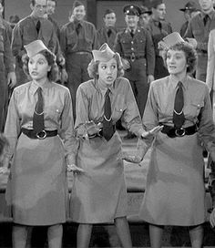 "02 Jan 41: The Andrews Sisters record ""Boogie Woogie Bugle Boy"" at Decca's Hollywood studios as part of the production of the Abbott & Costello film ""Buck Privates."""