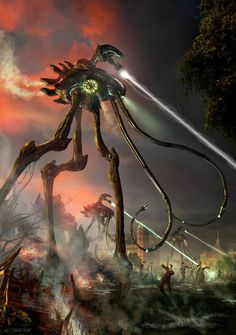 "ArtStation - Martian War Machine - from ""H. Well's War of the Worlds"" published by the Easton Press, JP Targete Aliens, Alien Creatures, Fantasy Creatures, Atlantis, Sci Fi Novels, Sci Fi Comics, Alien Invasion, Sci Fi Fantasy, Fantasy Images"