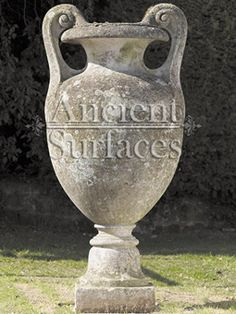 Antique Stone Planters and Pedestals by Ancient Surfaces Stone Planters, Urn Planters, Living Environment, Organic Beauty, Pedestal, Layout Design, Landscape Design, Surface, Cottage