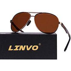 6820801ee8c6 LINVO Military Style Polarized Metal Frame Pilot Sunglasses for Men Sports  UV400