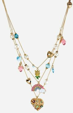 Betsey Johnson 'Fairyland' Multistrand Charm Necklace available at #Nordstrom