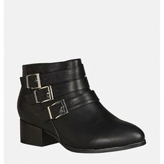 Avenue Ludlow Buckle Bootie ($45) ❤ liked on Polyvore featuring shoes, boots, ankle booties, black, plus size, black zipper booties, black ankle bootie, short black boots, zip ankle boots and black bootie