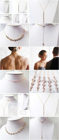 back necklace and back drop necklaces, perfect for the bride and / or her bridesmaids. A range of designs available in gold and silver. Simple and elegant backdrop  necklaces.