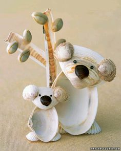 Here is a cool craft idea. You take some big and small seashells you don't want and make any kinda s.all animal you like.