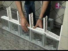 Segunda fila de bloques de vidrio vetroCLICK (8 de 14) - YouTube Glass Block Shower, Glass Blocks Wall, Tub To Shower Conversion, Ideas Baños, Flower Room Decor, Townhouse Exterior, Bedroom False Ceiling Design, Bathroom Design Small, Roof Design