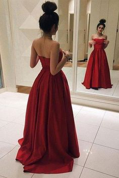 Simple Strapless A-line Red Long Formal Evening Dress Prom Dress