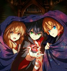 Harry Potter, Hermione Granger and Ron Weasley drawn in an anime-style with the Sorcerer's Stone / Philosopher's Stone Harry Potter Anime, Harry Potter Fan Art, Mundo Harry Potter, Harry Potter Images, Cute Harry Potter, Harry Potter Drawings, Harry Potter Characters, Harry Potter Fandom, Harry Potter Universal