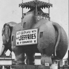 Vintage photo of Lucy the Elephant in Margate NJ