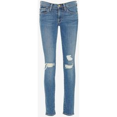 FRAME Le Skinny De Jeanne Rip Laurel (300 CAD) ❤ liked on Polyvore featuring jeans, pants, bottoms, skinny jeans, denim, blue skinny jeans, blue jeans, distressed skinny jeans and destroyed jeans