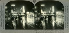 The Great White Way -- Night scene on Broadway Above Times Square, New York City. Original card stereoview in my collection. Times Square New York, The Great White, Summer Nights, New York City, Broadway, The Neighbourhood, Nyc, Journey, Scene