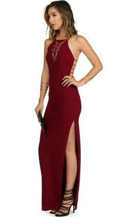 Sexy dress Charming Burgundy Prom Dress,Side Slit Evening Dress,Halter Party Dress,Floor Length Party Dress