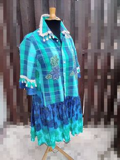 2X Men's Shirt Dress Shirt Recycled Fabric Dress Boho   Etsy Denim Shirt With Jeans, Recycled Fabric, Gypsy Style, Handmade Clothes, Boho Dress, Dress Shirt, Nice Dresses, Clothing, How To Wear