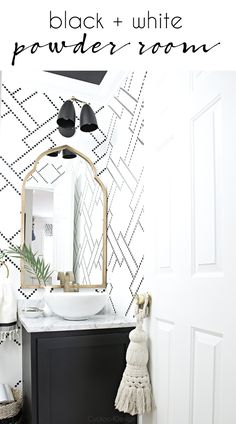 DIY stenciled black and white powder room with gold accents and an eclectic  global vibe via @jakonya