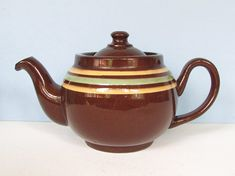 1950's Striped ALB Brown Betty Teapot/ Small Alcock Lindley Bloore, Mid Century Yellow, Green Stripe, Rockingham Tea pot, England, 2 cup Brown Betty, Kettles, Vintage Tea, Green Stripes, Tea Pots, Cups, Mid Century, England, China