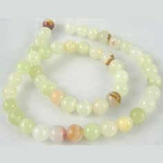 Wholesale Natural Gemstone Beads Strands, Flower Jade, Round, about in diameter, hole: about Modern Jewelry, Gemstone Beads, Natural Gemstones, Crafts To Make, Jade, Pearl Necklace, Beaded Bracelets, Necklaces, Jewelry Accessories