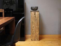 Deko Objekte   Vintage Deko Säule Aus Holz Mit Stahlschale   Ein  Designerstück Von
