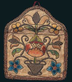 Artist unidentified  Pennsylvania, possibly Chester County  c. 1720–1750  Silk and metallic thread on silk over linen with spangles  4 1/2 x 5 1/2 in.  American Folk Art Museum, promised gift of Ralph Esmerian, P1.2001.292