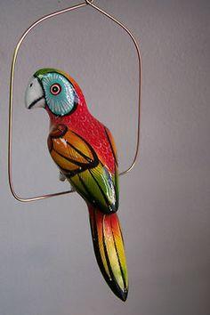 Paper Mache Hanging Parrot