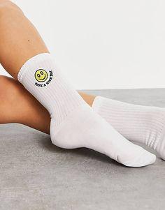 ASOS DESIGN calf length rib socks with face embroidery in green   ASOS White Style, Calves, Latest Trends, Asos, Embroidery, Women Socks, Face, How To Wear, Cotton