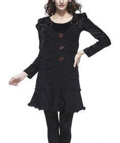 Look at this #zulilyfind! Black Three-Button Wool-Blend Layered Tunic by Simply Couture #zulilyfinds