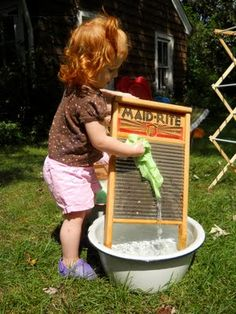 We had an old fashioned wash day for the dolly clothes.