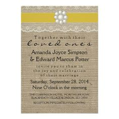 GOLD LACE AND PEARL BURLAP WEDDING DAY PERSONALIZED INVITATION