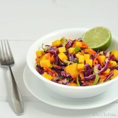Red Cabbage Salad with Brussels Sprouts and Mango