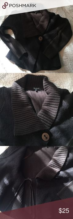 Adorable brown cardigan. Size L Adorable brown cardigan. Size large. Wrap style - inner tie, button on the outside.  50% wool & 50% acrylic. 19 inches from collar to hem. Sleeves are 17 from under arm to hem. silvia novelli Sweaters Cardigans