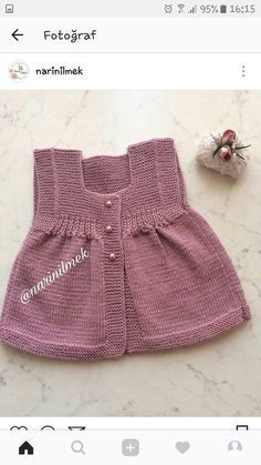 Ideas Crochet Clothes Patterns Kids American Girls For 2019 Knitting For Kids, Easy Knitting, Baby Knitting Patterns, Crochet For Kids, Baby Patterns, Crochet Baby, Baby Vest, Baby Cardigan, Baby Girl Outfits