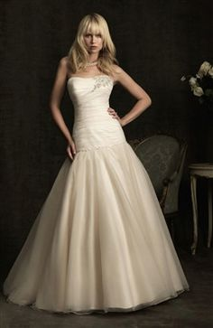Ivory A-line Court Train Strapless Sleeveless Wedding Gown