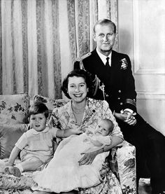 Queen Elizabeth II poses with her husband Prince Philip, Duke of Edinburgh and their children Prince Charles of Wales (L) and Princess Anne, how happy HM looks http://www.pinterest.com/gloriaspivey/royalty-around-the-world/