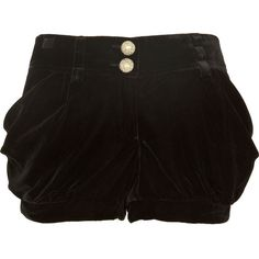 River Island Black velvet shorts ($12) ❤ liked on Polyvore featuring shorts, bottoms, pants, sale, river island, black shorts, velvet shorts and black velvet shorts