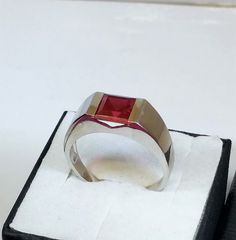 21 mm Ring Silber 925 Kristall rubinrot edel SR755 von Schmuckbaron