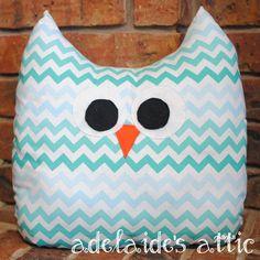 Blue/Teal Chevron Owl Pillow Plush Pal  Lovey by DirectorJewels, $24.95 #AdelaidesAttic