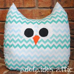 Blue/Teal Chevron Owl Pillow Plush Pal - Lovey, Stuffed Animal for Baby, Toddler, Child