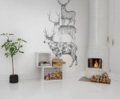 Hey, look at this wallpaper from Rebel Walls, Three Dears! #rebelwalls #wallpaper #wallmurals