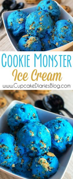 Don't plan a Cookie Monster birthday party without this ice cream! It's blue, it's full of cookie chunks, and it's ready for a party!