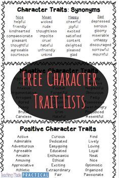 Free Character Traits List Free Character Traits List,Teaching Third Grade Use these free character trait lists to help your students build their character trait vocabulary or to practice different shades of meaning. Negative Character Traits, Character Traits List, Character Traits Activities, Character Education, Character Words, Negative Traits, Education Humor, Character Development, Positive Traits