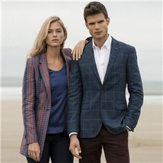 A contemporary boyfriend styled jacket, the intricately designed red, Florida orange and denim blue fabric is woven in Donegal, Ireland. Pair with the navy Darcy blouse and the navy Sandy washed tailored fit chino to complete the look Mens Tweed Suit, Tweed Suits, Mens Suits, Tweed Coat, Boyfriend Style, Donegal, Well Dressed Men, Blue Fabric, Blue Denim