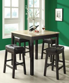 Love this Cappuccino & Beige Faux Marble Five-Piece Counter Dining Set by Monarch Specialties on #zulily! #zulilyfinds