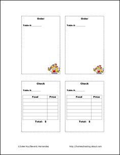 Let's Play Restaurant Kit: Let's Play Restaurant - Order Sheets and Checks