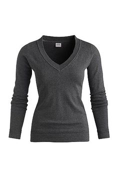 sweater, v-neck fitted pullover, grey