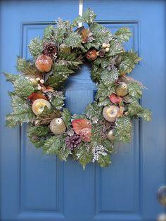 Gold Green Christmas Wreath Holiday Door by WreathsByRebeccaB