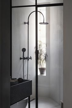 Inside the smokily colored home of Alessandro D'Orazio and Jannicke Kråkvik, stylists and owners of Oslo& best design store, Kollekted By. Minimal Bathroom, Modern Bathroom, Small Bathroom, Master Bathroom, Bathroom Taps, Modern Shower, Decoration Inspiration, Bathroom Inspiration, Interior Inspiration