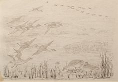 "Geese in Flight over a Lake by Charles Murray Adamson (1820-1894) Pen and ink drawing on paper In a cream conservation grade mount (matt) ​In good condition, one small section of age discolouration lower left corner, as illustrated ​Drawing: 16.9 x 24.8 cm (visible); mount: 28 x 35.5 cm (11"" x 14"")"